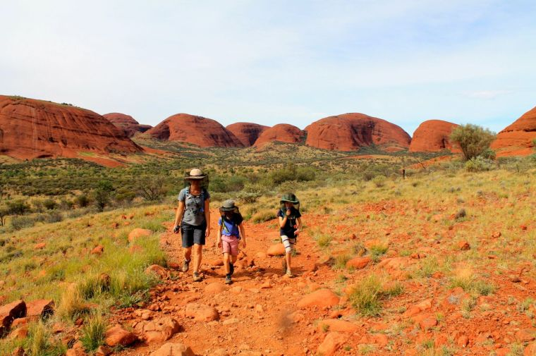 Decked out with fly nets in Valley of the Winds Kata Juta